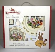 Royal Doulton Bunnykins 5 Piece Dinner Set Plate Bowl Spoon Sipper And Bib