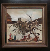 Vlad Ryklin Painting Surrealist Fantasy Landscape Trees Roots People Books 1970andrsquo