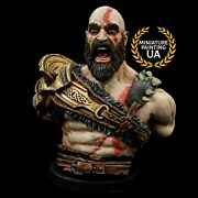 ⭐️god Of War 2018 Videogame Exclusive Kratos Painted Bust Handmade Collectible