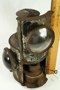 Antique Adlake Caboose Railroad Lamp Lantern Red And Clear Lens With Burner