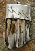 Native American Indian Artist Black Eagle, Large Bison Tooth Pendant In Silver