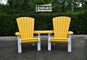 Enduro Outdoors Hdpe Adirondack Chair And Arm Table Set White And Yellow