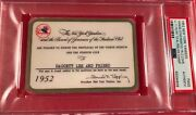 1952 New York Yankees Psa Pass Ticket World Champs Mickey Mantle 23 Hrs/ll 111k