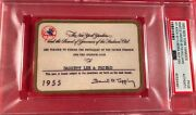 1955 New York Yankees Psa Pass Ticket Mickey Mantle 37 Hr 100 Ll/berra Mvp/ford