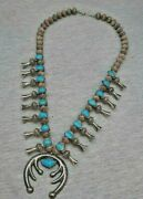 Navajo Vintage Coin Silver And Turquoise Southwest Old Pawn Squash Blossom