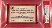 1957 New York Yankees Champs Psa Pass Ticket Mickey Mantle Mvp/200hr/cycle/berra