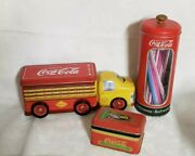 Vintage 90andrsquos Coca Cola Metal Tin Box Lot Of 3 Truck Straw Holder Card Box