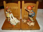Goebel And Hummel Goose Girl And Farm Boy Bookends-wood Matched Bookends