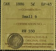 Canada 1886 5 Cent Piece - Iccs -- Ef45 - Small 6 -