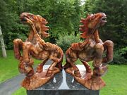 Pair Of 10 Fine Chinese Hand-carved War Horses Red Blood Vein Jade Nephrite