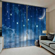 Blue Horizon Yellow Curved Half Moon Printing 3d Blockout Curtains Fabric Window