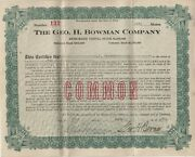 1921 Geo H Bowman Co Cleveland Oh Ephemera 10 Shares Stock Certificate