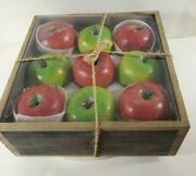 Smith And Hawken Apple Candles In Rustic Wooden Box - New In Box