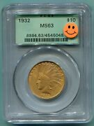 1932 10 Indian Eagle Pcgs Ms63 Ms-63 Ogh Old Green Holder Premium Quality Pq +