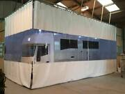 White / Clear Workshop Motorhome Retractable Curtains Heavy Duty Track L Shape