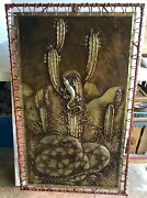 Vintage Mexican Art Punched Tin Light Up Picture Rattle Snake Gecko Cactus