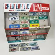 Vintage Chesterfield And Lm Cigarette Display Metal Rack W/ Mini License Plates