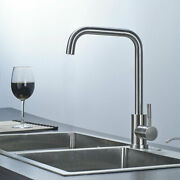 Kitchen Sink Faucet Brushed Nickel 360anddegfree Rotation Mid Arc Household Mixer Tap