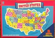 Vintage 1993 Milton Bradley Puzzle Map Of United States And World Complete