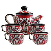 Handicraft Ceramic Teapot Serving Kettle And 4 Cups Red Kitchen Decor