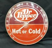 Vintage Dr. Pepper Hot Or Cold Round Covered Thermometer Original Cracked Cover