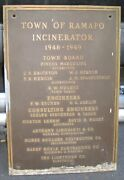 Town Of Ramapo Incinerator 1948 Bronze Sign Rockland County Ny Margulies Nugent