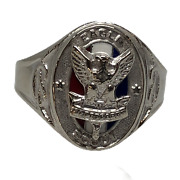 Boy Scouts Of America Eagle Scout 14k White Gold And Enamel Class Style Ring Sz 8
