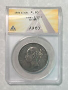 Nicely Toned 1881 Great Britain 1/2 Crown Graded By Anacs As An Au-50 Km 756