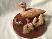 Collectible Wood Carving Mallard Hen Duck W/2 Ducklings By Harlan And Pearl Lowe
