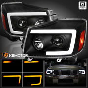For 2004-2015 Titan 04-07 Armada Black Projector Headlight+led Sequential Signal