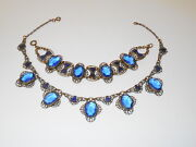 Rare Antique Blue Czech Glass And Enamel Open Back Necklace And Bracelet Set Lot