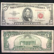 1953a 5 Red Seal U S Note Offset Printing Error Bill In Back