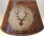 Lamp Shade Vintage Antlers Hand Painted Stag Mountain Cabin Lodge Motif