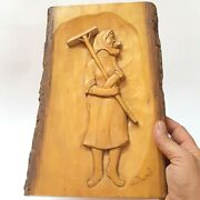 Vintage Wall Plaque Wooden Carved A Woman -works Farm Handmade Rare Beautiful