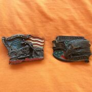 Lot Of 2 Harley Davidson The Twin Tradition Le And Freedom To Ride Belt Buckles