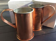 Set Of Two 28oz Authentic Jacob Bromwell Hand-made Collectorand039s Copper Mug/steins