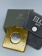 New Eloi Pernet Vintage Square Cigar Cutter - Gold Plated Striated- Gold Tab