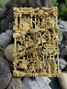 Antique Chinese Gilt Wood Carved Panel Warrior Scene High Relif 18 Inches 46cm