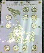 U.s. Wartime Silver Nickels Set Iwo Jima Rainbow Toned 3 Rpm's And 2 Full Steps