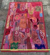 57 Large India Beaded Fabric Wall Hanging Tapestry Patchwork Red Bohemian