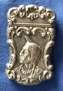 405-antique Sterling Silver American Indian Match Safe