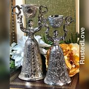 Toasting Cups German + Wedding Women Rotating Cup Silver Plated Vintage Set 2