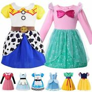 Girls Princess Dress Cosplay Party Clothes Jessie Ariel Alice Snow White Belle