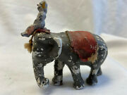 Vtg Lead Performing Circus Elephant With Trainer Needs Restoring