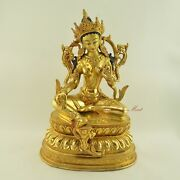Gold Face Painted Hand Carved Green Tara Copper Gold Gilded Statue Patan Nepal