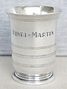 French Antique Silver Sterling Wine Cup Monogram Henri-martin 19th Cen. Sign. Lf