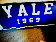 Vtg.1969 Class Yale College Banner 68x35, Made By Nixon Flag Co, Damaged Areas