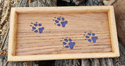 Handmade Reclaimed Oak Catch All Tray With Paw Prints