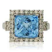 Pre-owned 18ct White Gold Blue Topaz And Diamond Cluster Ring