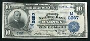 1902 10 Db The 1st National Bank Of Harveyil National Currency Ch. 8667 Xf/au